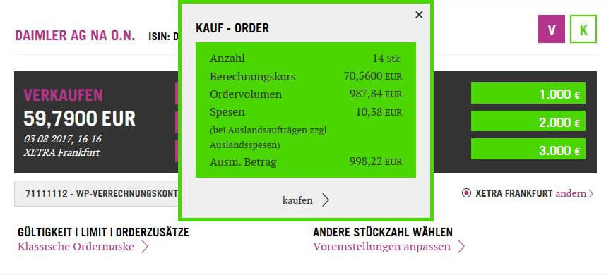 One-Click-Trading Kauf